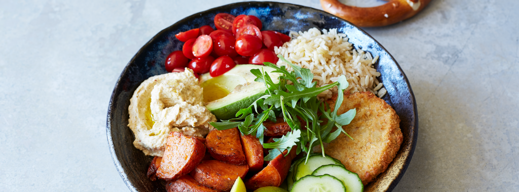 Buddha Bowl with Chicken-Style Burgers & Hummus