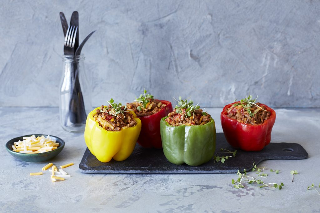 Mexican Stuffed Bell Peppers with Meat Free Mince