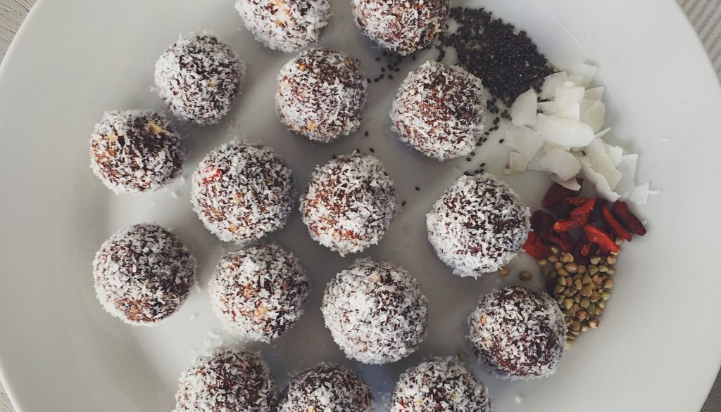 Chocolate Peppermint Coconut Date Balls