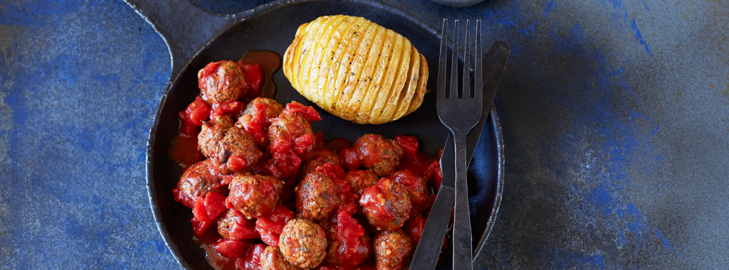 No-Meat Balls with Hasselback Potatoes